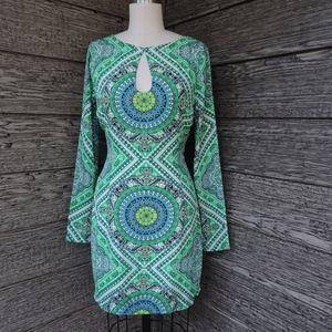 Arden B Green Ikat Bohemian Print Keyhole Dress XS